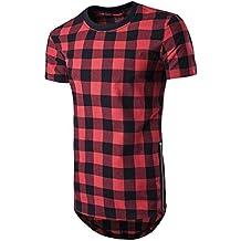 Camiseta Hombres,Tefamore Camisa Tops Con Estilo Superior De Tartán Asimétrico Dobladillo Largo Verano