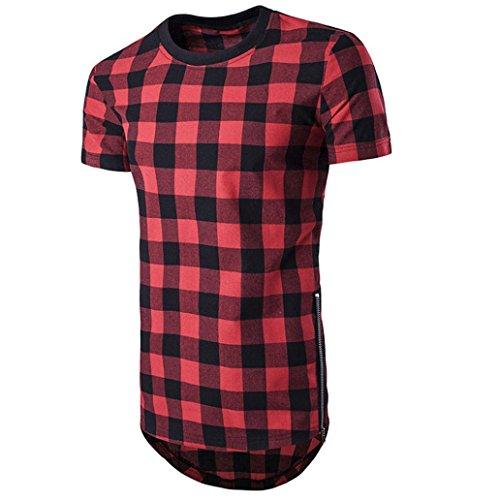 Camiseta Hombres,Tefamore Camisa Tops Con Estilo Superior De Tartán Asimétrico Dobladillo Largo Verano (M, Rojo)