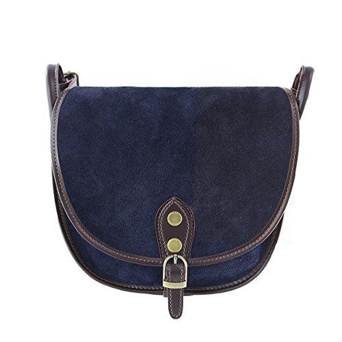 CTM Pochette pour femme, petit sac à epaule en cuir veritable fait en Italie - 26x23x8 Cm