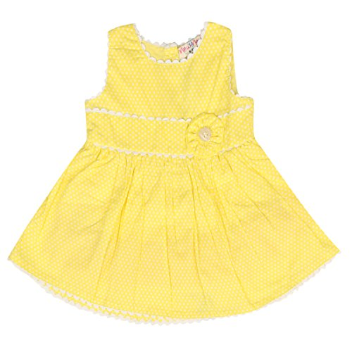 New 4 New Yellow Cotton Frocks For Girls( Pack Of 1)