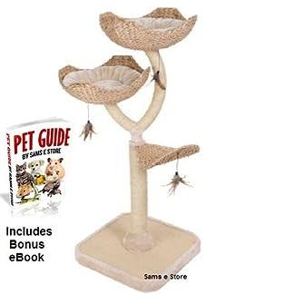Cat Tree Medium Tower Kitten Scratch Post 3 Level Platforms Cushioned Toys Nap Snooze Play Climb Luxury Flower Design Natural 413S zj8npL