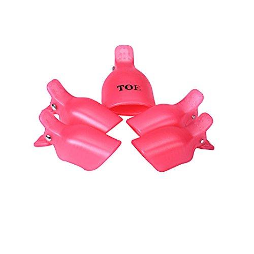 Susenstone 5PCs D'ongle D'orteil Soak Off Clip Casquettes Gel Nail Art Astuces Réutilisables Pince Remover, Pink