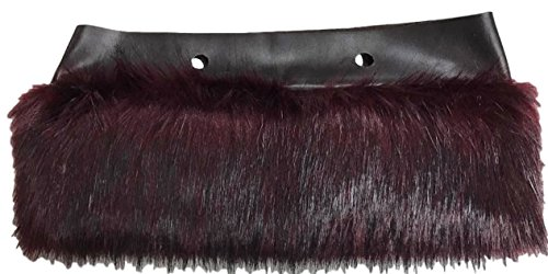 MINI Trim Bordüre Kunstfell Umrandung Universell zb O Bag MINI - Bordeaux ROT - Weinrot 88AA (Pelz Trim)