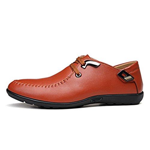 Feidaeu Hommes Chaussures Lacet Automne-hiver Respirent Loisir Souple Semelle Derby Lacet Soulier Brun