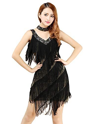 FEOYA Costume de Danse Latine Femme Salsa Tango Robe Charleston Femme Robe à Franges pour Soirée année 20 Robe Col en V sans Manche Style Gatsby 1920 Vintage Noir