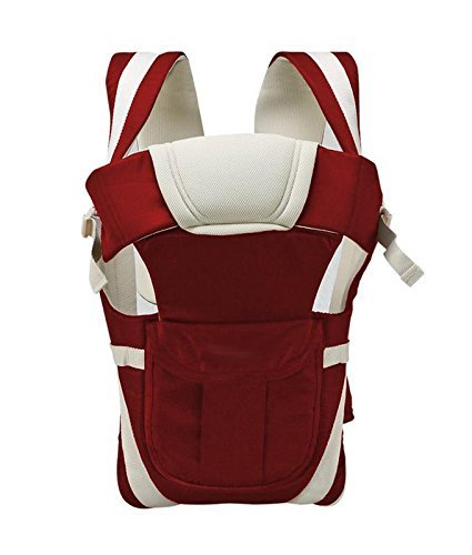 Adjustable Hands-Free 4-in-1 Baby Carrier Bag , Carry Bag , Front Carry Bag with Comfortable Head Support & Buckle Straps Cherry Red