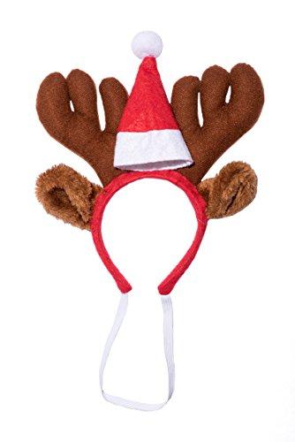 Weihnachtsmütze Nikolaus Mütze Weihnachtsmützen Xmas Mützen Nikolausmütze Geweih mit kleiner Mütze (Hund Weihnachtsmütze)