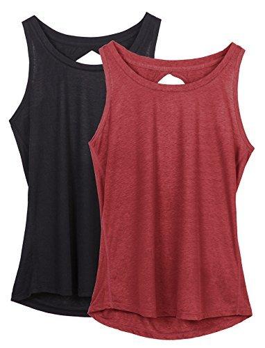icyzone Damen Yoga Sport Tank Top - Rückenfrei Fitness Shirt Oberteil ärmellos Training Tops (M, Black/Wine