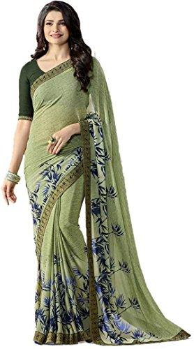 Hinayat Fashion Chiffon Saree (Nht01Sri533_Green_Free Size)
