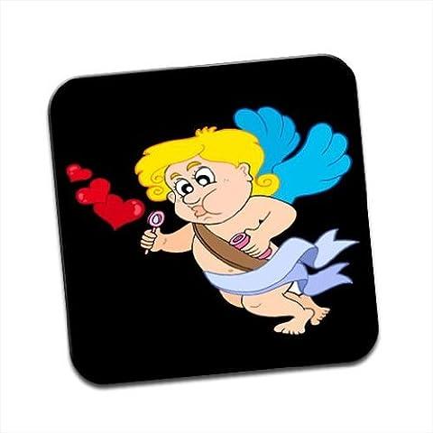 Cupidon Flying et cœur Blowing Bubbles Premium Glossy simple Sous-verre en bois