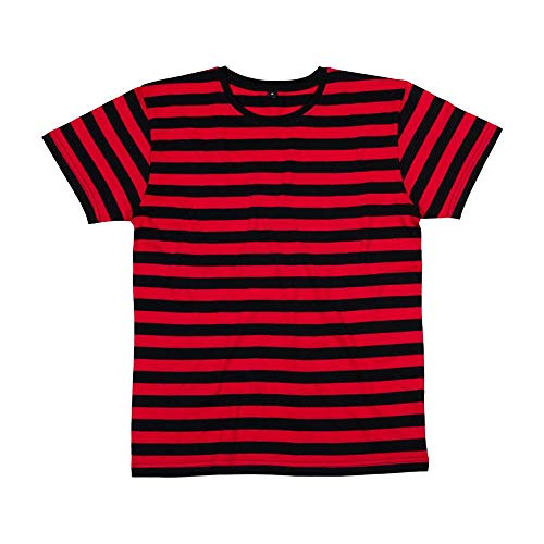 Schwarzes Retro-shirt (Mantis - Men's Retro Streifen-T-Shirt, Black/Red, XL)