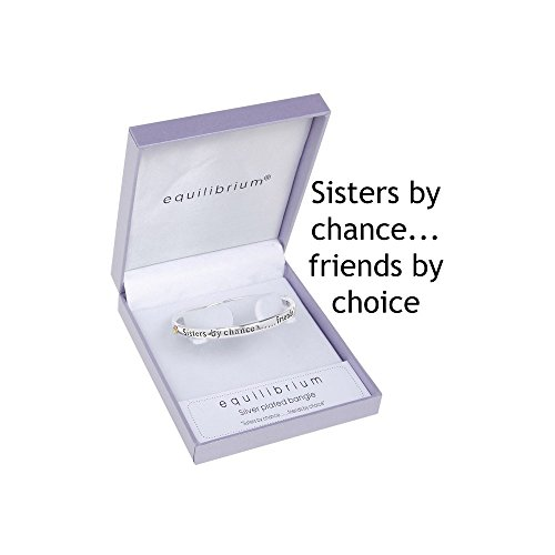 "Equilibrium Technologies - Braccialetto placcato in argento, con scritta ""Sisters by chance, friends by choice"" [lingua inglese]"