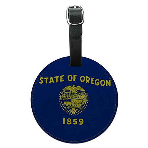Oregon State Flagge rund Leder Gepäck ID Tag Koffer Handgepäck (State Oregon Leder)