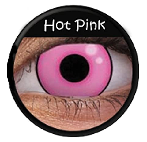 Crazy Fun Colour Color Contact Lens lenses Farbig Kontaktlinsen lentille (((HOT PINK))) « sans correction » Rose Vif uk