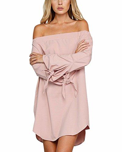 StyleDome Femme Mini Robe Tunique Col Bateau Bustier Manches Longues Casual Lâce Robe de Cocktail Shirt Haut Tops Blouse Longue Rose