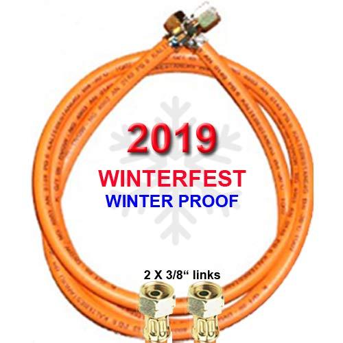"""TGO Propan-Gasschlauch Winterfest 2 X 3/8\"""" Links (für Gewinden-Außenmaßen mit ca. 15-16mm) - Kältebeständig bis - 30° C - mit Aufdruck 2019 (1,5m (150cm))"""