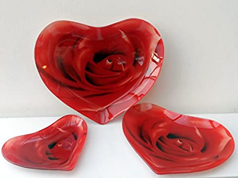 en forme de cœur en verre Vaisselle, Lot de 3plats en verre avec imprimé roses Rouge en forme de cœur Assiettes, plats, plateaux de pièce de monnaie et bien plus encore en Homestreet®