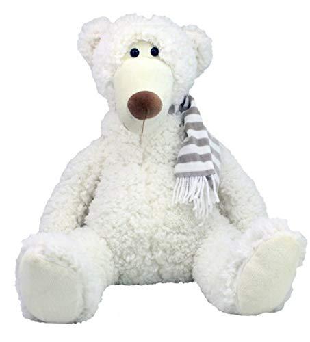 Plüschtier Bär Eisbär weiß XXL 55 cm mit Schal Plüsch Kuscheltier Winter Geschenk Geschenkidee Weihnachten Nikolaus von Trends - Plüsch-schals