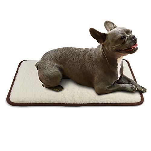 LUGUNO® Hundedecke - Flauschig, weich & wasserabweisend (Größe S, 60x40 cm) Farbe Braun I Merino Wolle I für Katzen & Hunde geeignet I Hundekissen Hundematte Auto