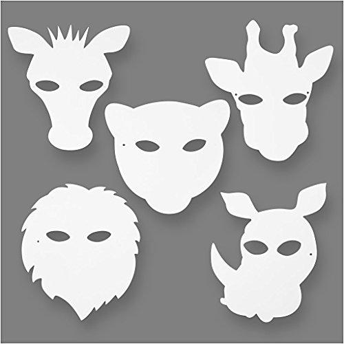Dschungeltier Masken, H: 22,5-25 cm, 16 sort., 220 g (Pappmaché Maske)