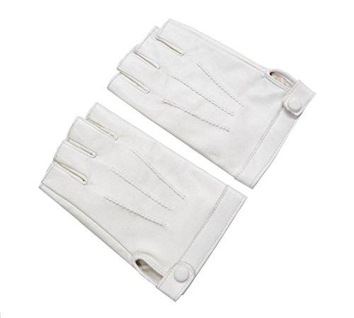 GQQgloves Femme Demi-cuir New Sheepskin - Gants Finger Randonnée Noir Blanc Marron Rouge white