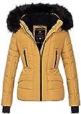 Navahoo Damen Winter Jacke warm gefüttert Teddyfell Stepp Winterjacke B361 (M, Camel)