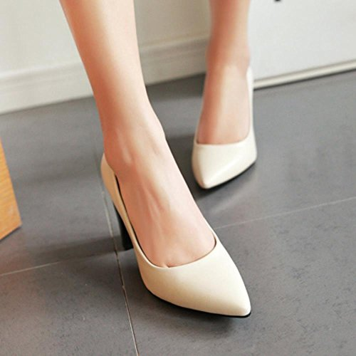 TAOFFEN Damen Mode-Event Blockabsatz Hohe Ferse Party Shoes Pointed Toe Pumps Beige
