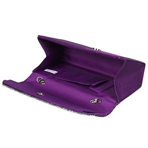 Damara Pochette Femme de Soirée Satin Plissé Pière Strass Glitter Mignon Enveloppe Violet