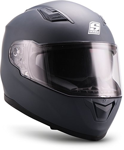 """Soxon  ST-1000 Mono """"Navy""""  Integral-Helm  Full-face Cruiser Motorrad-Helm Scooter-Helm Roller Sturz-Helm  ECE zertifiziert  inkl. Sonnenvisier  Click-n-Secure Verschluss  XXL (63-64cm)"""