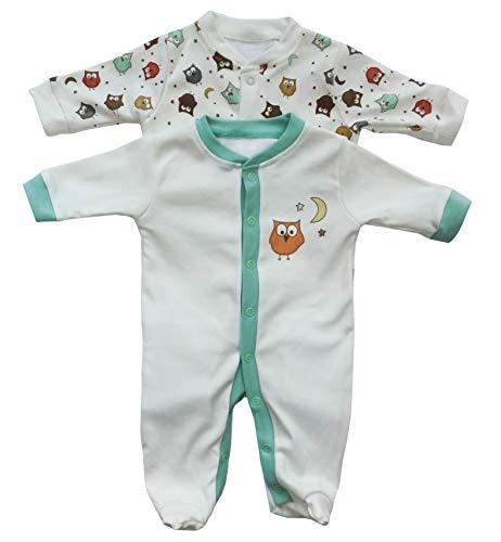 Baby Schlafanzug/Schlafstrampler im Doppelpack mit niedlichen Druckmotiven in verschiedenen Designs für Jungen und Mädchen