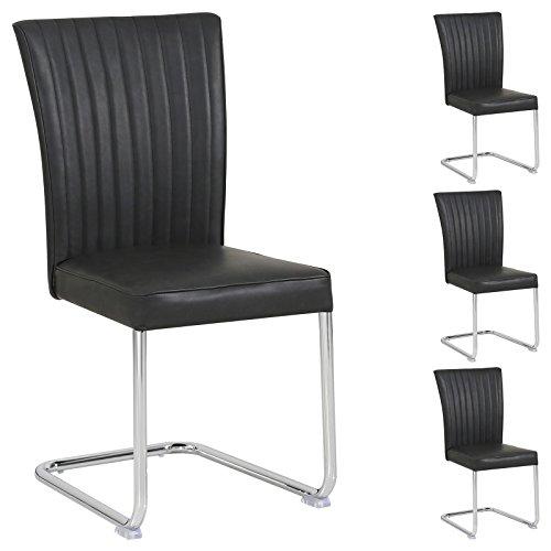 CARO-Möbel 4er Set Schwingstuhl Beverly aus Wildlederimitat in Schwarz im Vintage Stil