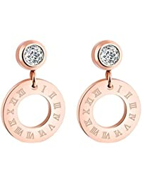 Yellow Chimes Western Roman Steel By Yellow Chimes Cubic Zirconia Drop Earrings For Women (Rose Gold)(YCSSER-G369CR-RG)