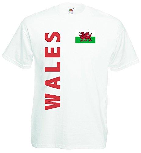 world-of-shirt Herren T-Shirt Wales EM 2016 Trikot Fan Shirt Weiss