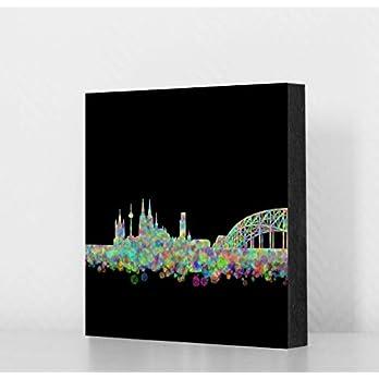 Köln Bild – Skyline Konfetti schwarz, 14x14cm, MDF, Geschenk, Deko, Dom, Kölngeschenk, Kunst, Cologne, Holz