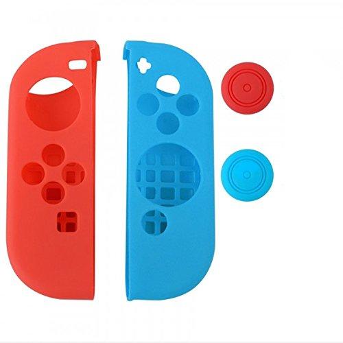 Preisvergleich Produktbild Chickwin Nintendo Switch Silikon Cover Case Gel-Protektoren und 2 Thumb Stick Kappen Protector für Nintendo Switch Joy-Con Controller (Links Rot Rechts blau)