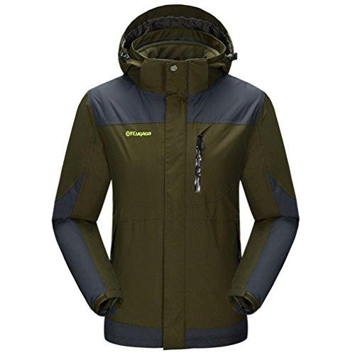 FLYGAGA Homme 3 en 1 Veste Coupe-Vent Imperméable Respirant Outdoor Sport Camping Randonnée Escalade Trekking Manteau (XX-Large, Armée Verte)