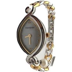Fontenay Damen-Stahl und 18Karat vergoldet Mutter von Pearl Link Armband Uhr mit echter Perle