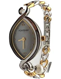 Fontenay Montre en acier et 18 carats en or plaqué or avec bracelet en nacre
