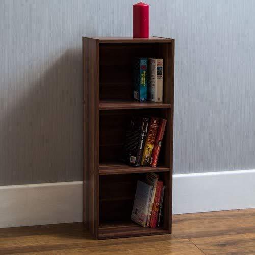 Home Discount Oxford mit 3Ebenen, Bücherregal, Regal, Walnuss-Holz, Display-Schrank, Büro, Wohnzimmer - Büro Walnuss Schrank
