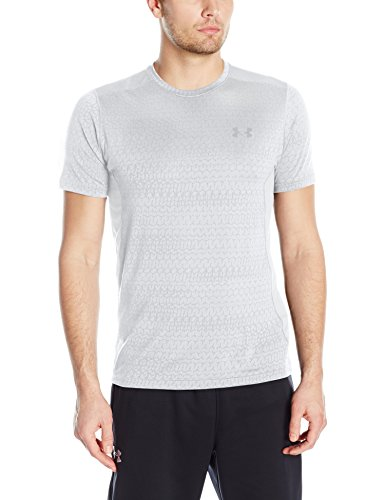 Under Armour Herren UA Raid Jacquard Ss T-Shirt, Weiß Blanc, L (Dwayne Johnson Messungen)