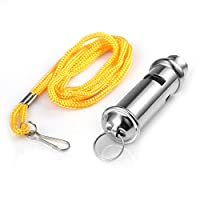 Alohha Police Bobby Style Security Metal Blowing Whistle for Outdoor Sports Training Race Coaches Referee with Neck Chain