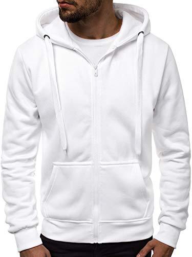 Fleece Hoody Hoodie Sweatshirt (OZONEE Herren Zip Hoody Reißverschluss Fleece Sport Fitness Training Sweatshirt Hoodie Sweatjacke Kapuzenpullover J.Style 2008 WEIß XL)