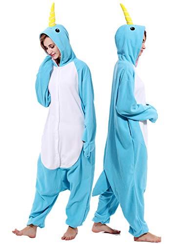 vavalad Damen narwhal Onesies Pyjamas Tier Halloween-kostüm Cosplay one Piece nachtwäsche L - Height 5'7''-5'10'' Narwhal Onesie