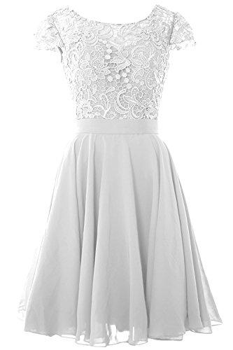 Carnivalprom Damen Spitze und Chiffon Brautjunfer Kleid Rüschen Kurz Abschlussball AbendKleid Weiß