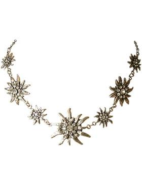 Trachtenschmuck Dirndl Kette Kristall Edelweiss Collier mit Crystal klaren Strasskristallen