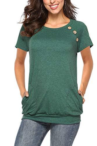 NICIAS Damen Sommer T-Shirt Kurzarm Oberteil Shirt Lässige Schaltflächen Hemd Bluse Tunika Top mit Taschen Grün L