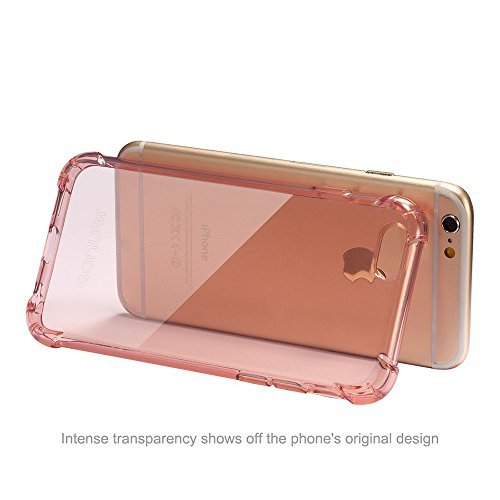 Coque iPhone 6,Housse Etui Bumper Protection en TPU Silicone Gel Clair Crystal Cover pour iPhone 6 Transparent Rouge
