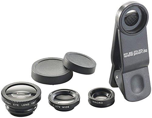 Somikon Vorsatzlinsen Set: Smartphone-Vorsatz-Linsen-Set mit Weitwinkel, Fischauge und Makro (Vorsatzlinsen Smartphone)