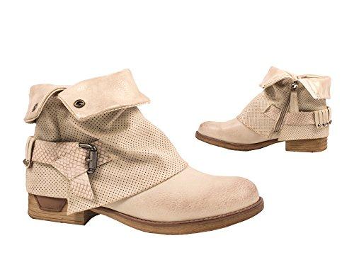 Elara Damen Stiefeletten | Bequeme Biker Boots | Metallic Print Nieten Größe 38, Farbe Beige (Beige Frauen-boot)