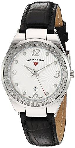 Reloj Cuarzo Swiss Legend para Mujer con Blanco Analogico Y Negro Cuero SL-10220SM-02